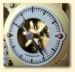 Closeup of the steampunk pendulum clock minute dial