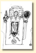 The awful first sketch of the 'Is it time for tea?' machine. You have to start somewhere!