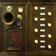 Steampunk sound recorder horn and controls with pendulum