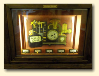 Student weather artwork displayed by steampunk weather station