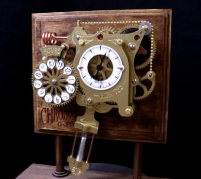 A completed beautiful Chronograph Clock Kit, reminiscent of Victorian engineering