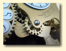 Detail of gears on the steampunk Chronograph pendulum clock