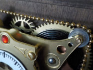 Closeup of mechanism on steampunk pendulum clock