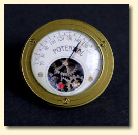 Potential decorative steampunk gauge with mechanism